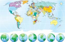 Fototapet, Harta albastră cu globuri