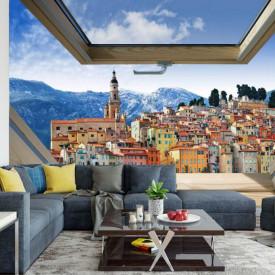 Fototapet, O fereastră cu Priveliște la un oraș din munți