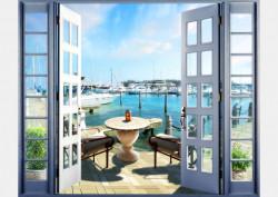 Fototapet, O fereastră cu Priveliște la un port
