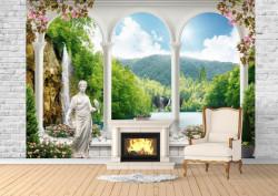 Fototapet, O Priveliște spre lac de la fereastră