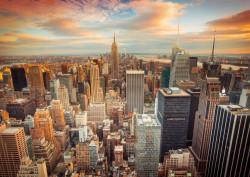 Fototapet, Orașul vestit la apus de soare