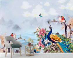 Fototapet, Păsările din poveste pe fundal de munți