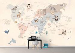 Fototapet pentru copii, Harta lumii pentru copii