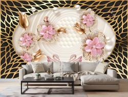 Fototapet, Pietre roz pal sub formă de flori