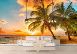 Fototapet, Plaja cu palmieri
