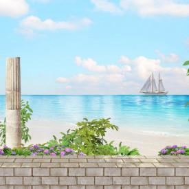 Fototapet, Terasa albă cu priveliște la ocean