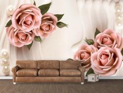 Fototapet, Trandafiri roz pe un fundal bej