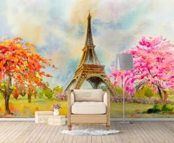 Fototapet, Turnul Eiffel pictat