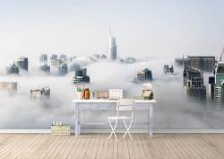 Fototapet, Un oraș în nori
