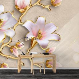 Fototapete 3D, Flori albe cu frunze le de aur pe un fundal bej