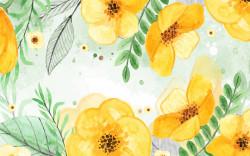 Fototapete, Flori galbene cu frunze verzi pe un fond delicat.