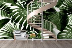 Fototapete, Frunze de copaci tropicale pe un fundal alb