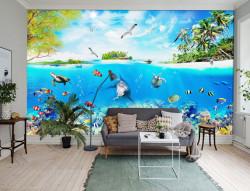 Fototapete, Ocean albastru cu delfin și pește sub apă
