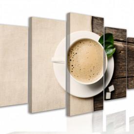 Multicanvas, Ceasca cu cappuccino pe un fundal de lemn