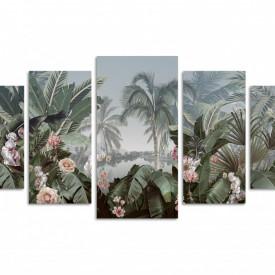 Multicanvas, Flori în frunze pe un fundal de palmieri