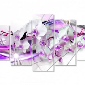 Multicanvas, Orhideea albă cu linii de culoarea liliacului.