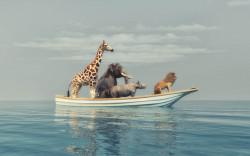 Poster, Animalele africane înoată pe o bucată de gheață