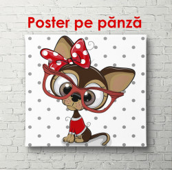 Poster, Câine cu ochelari roșii