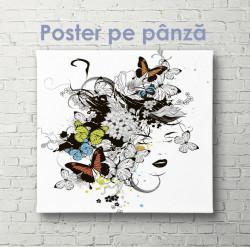 Poster, Fată cu fluturi