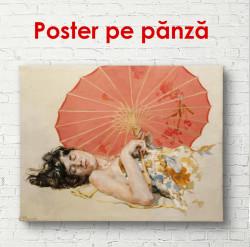 Poster, Femeia chineză cu o umbrelă roșie