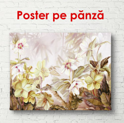 Poster, Flori aurii pe un fundal bej