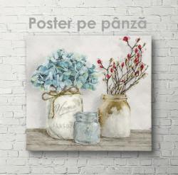 Poster, Flori smulticolore în vaze