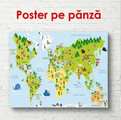 Poster, Harta lumii cu continente verzi