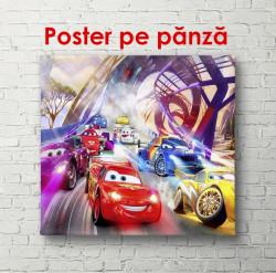 Poster, Mașini multicolore în lumini
