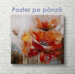 Poster, Pictura unei flori de mac pictată în vopsele în ulei