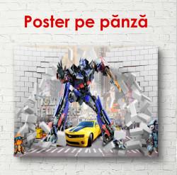 Poster, Transformerul albastru într-un oraș