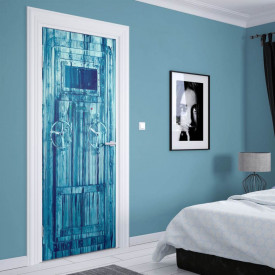 Stickere 3D pentru uși, Ușa din metal albastră, 1 foaie de 80 x 200 cm