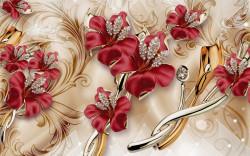 Tablou modular, Broșe în forme de flori roșii