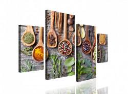 Tablou modular, Ierburi și condimente aromate în linguri de lemn