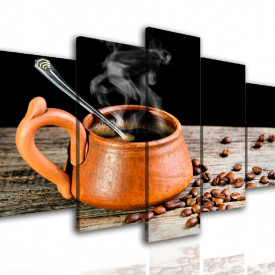 Tablou modular, O ceașcă cafenie de cafea.