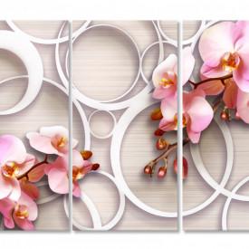Tablou modular, Orhidee roz pe un fundal 3D.