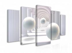 Tablou modular, Sfere albe plutitoare într-un tunel 3D