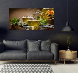 Tablouri Canvas, Ceainicul cu o ceașcă de ceai pe masa