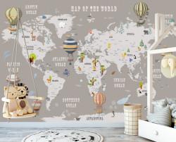 Tapet foto pentru copii, Harta lumii cu baloane cu aer cald