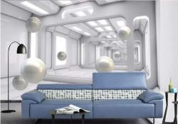 Fototapet 3D, Bile albe într-un tunel 3d