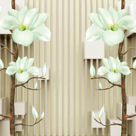 Fototapet 3D, Flori bej pe un fundal cu dungi maro