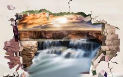 Fototapet 3D, Un zid spart cu Priveliște la o cascadă la apusul soarelui