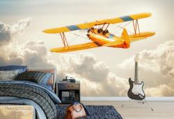Fototapet, Avion galben în nori