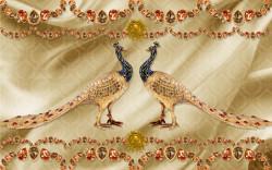 Fototapet, Broșă de aur sub formă de păuni pe un fundal auriu