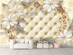 Fototapet, Flori albe pe un fundal de piele bej