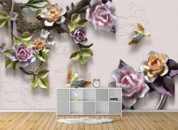 Fototapet, Flori de porțelan și colibri