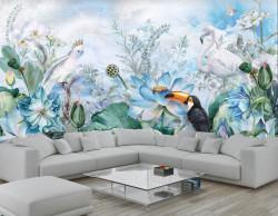 Fototapet, Flori, păsări și flamingo