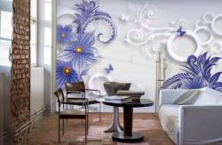 Fototapet, Flori violet cu cercuri albe pe un fundal alb