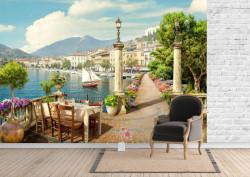 Fototapet Fresco, Cafenea lângă lacul