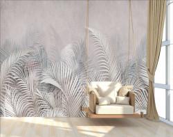 Fototapet, Frunze de palmieri roz pal