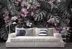 Fototapet, Frunze de plante tropicale cu flori roz 1